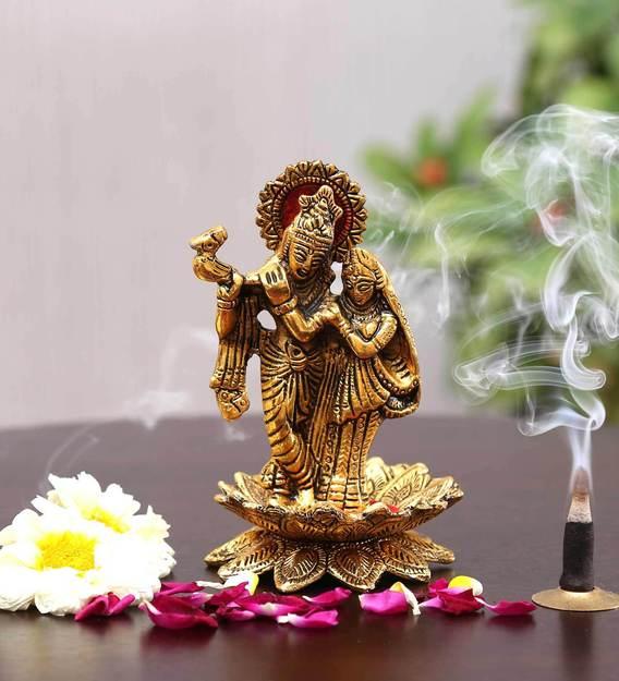 Buy Golden Aluminium Radha Krishna Statue Religious Idol