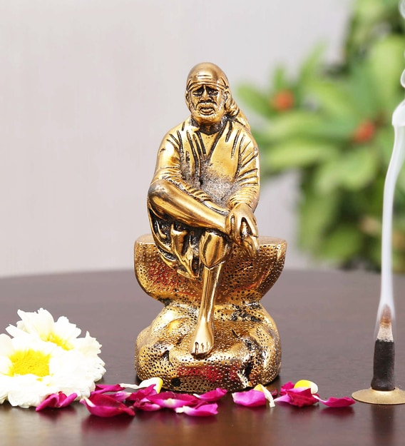 Buy Golden Aluminium Sai Baba Statue Religious Idol By Handicrafts Paradise Online Other Dieties Religious Idols Home Decor Pepperfry Product