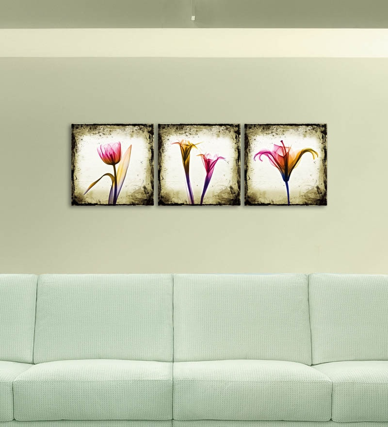 MDF 27 x 9 Inch 3-Panel Tulip Wall Decor by Go Hooked