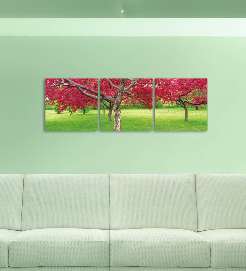 MDF 27 x 9 Inch 3-Panel Colours of Nature Wall Decor by Go Hooked