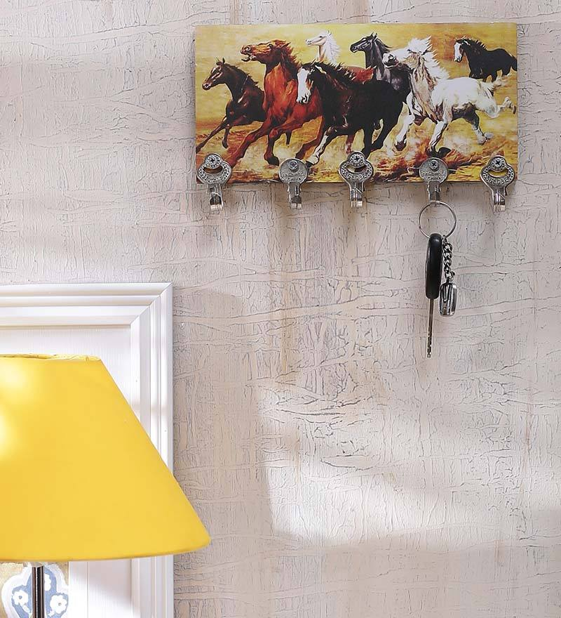 Multicolour MDF Horses Durable Key Holder by Go Hooked