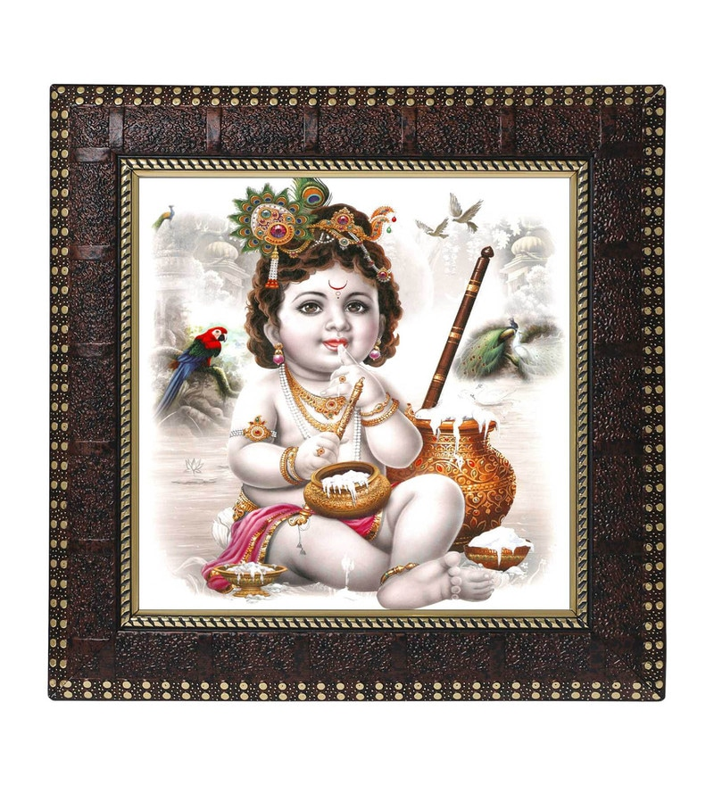 MDF 12 x 1 x 12 Inch Krishna Makhan Chor Framed Art Print by Go Hooked
