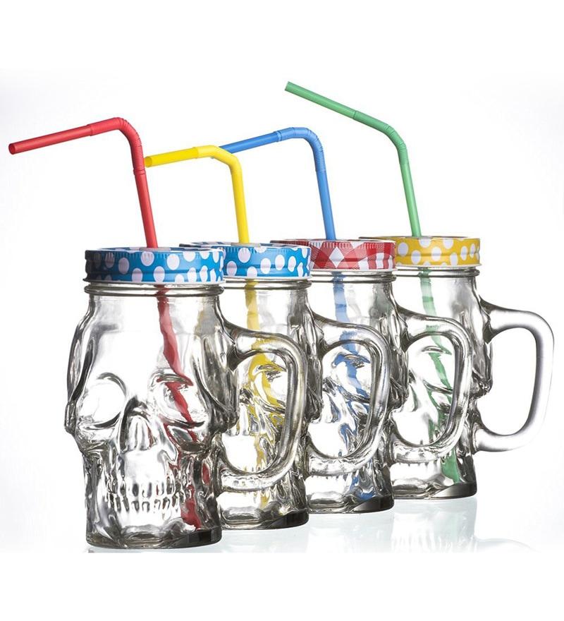 Godskitchen Skull Head Glass 350 ML Mason Jar with Straw - Set of 4
