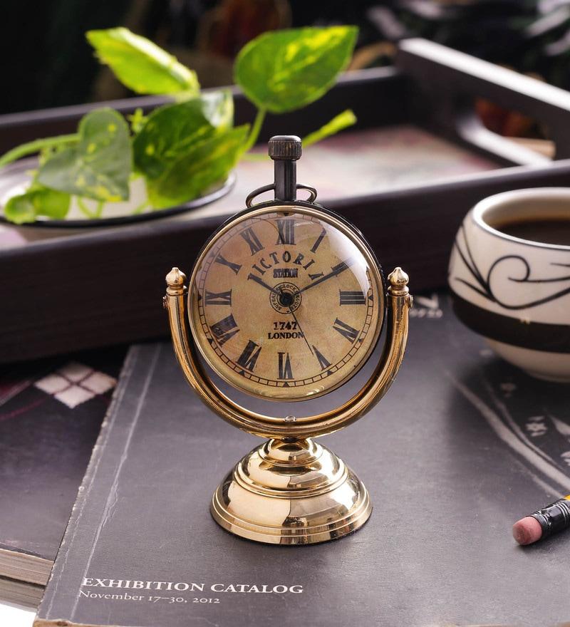 Gold Brass & Acrylic Table Clock - 1727679