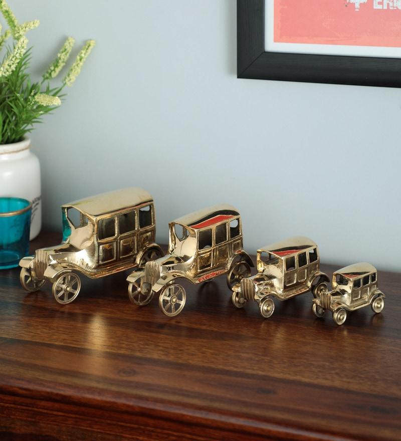 Gold Br Vintage Car Set Of 4