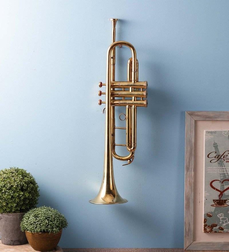 Gold Brass Brass Trumpet (Big) by Exim Decor