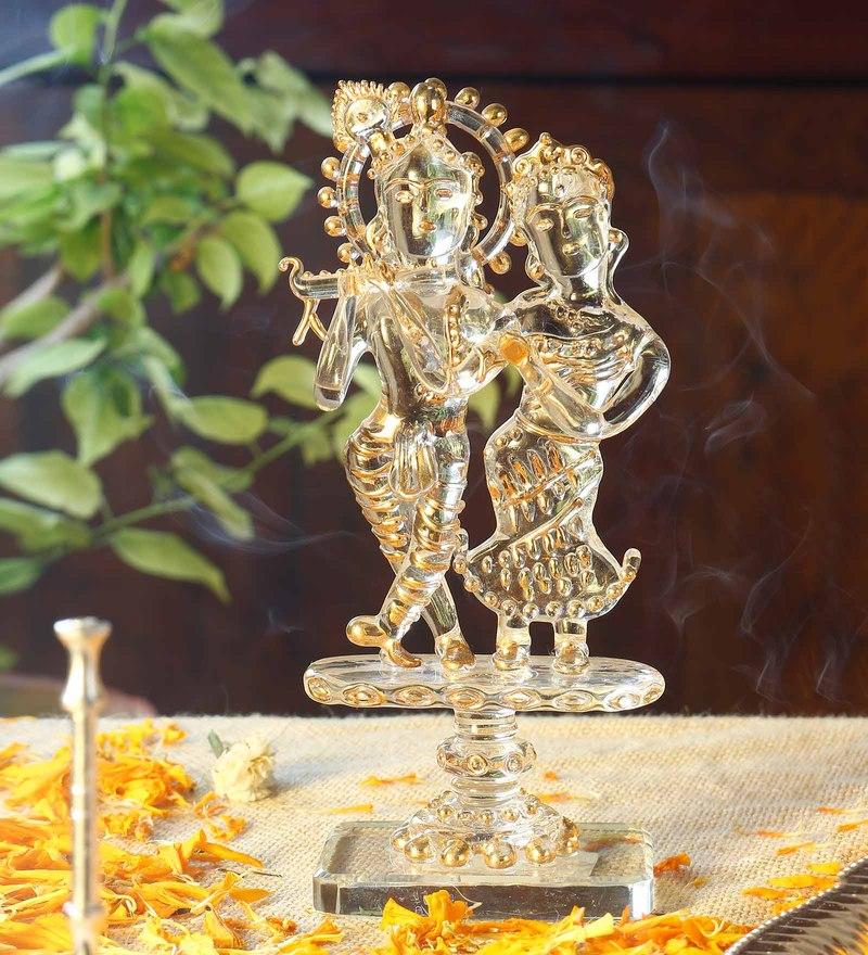 Gold Glass radha krishna God Idol by Anasa