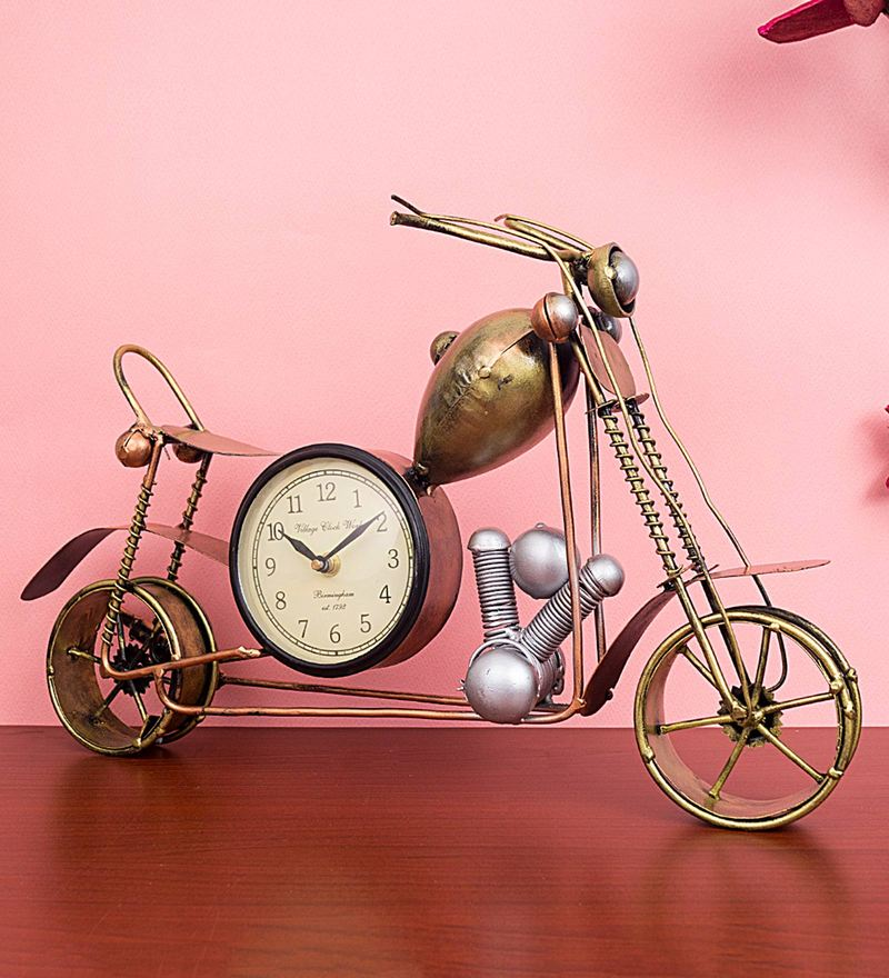 Jok Table.Buy Gold Iron Vintage Motorcycle Bike Table Clock By Golden Peacock