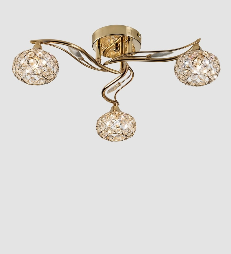 Gold Metal and Crystal Leaf Shape Chandelier by The Light Studio