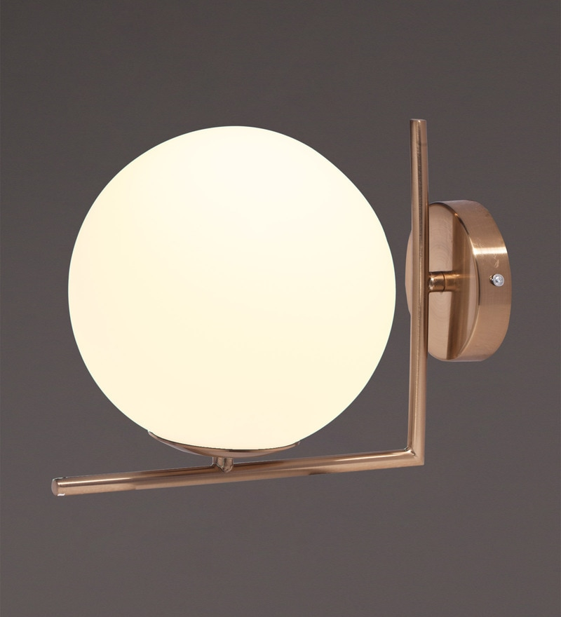 Gold Metal and Glass Wall Light by Voylite