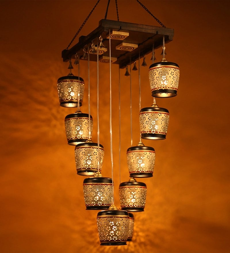 Gold Metal Chandelier by ExclusiveLane