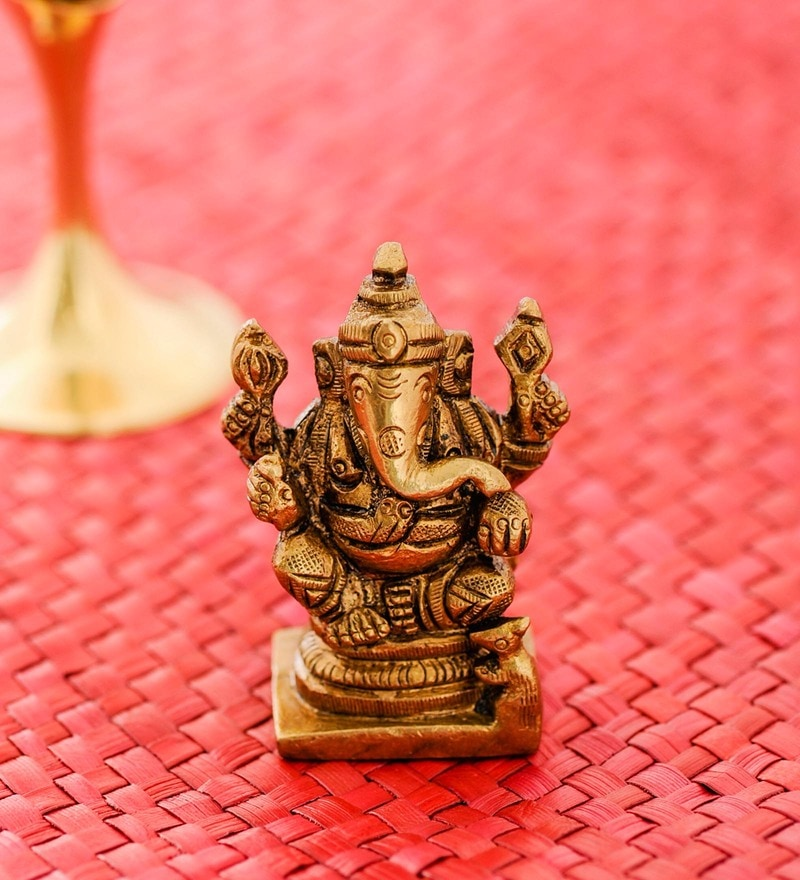 Golden Brass Small Antique Ganesh Idol by Frestol