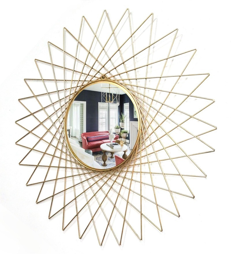 Golden Glass and Metal Makura Wall Mirror by Venetian Design