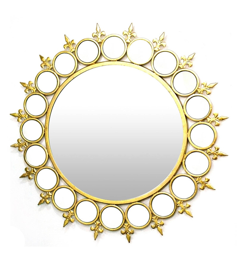 Golden Glass and Metal Ring Wall Mirror by Venetian Design