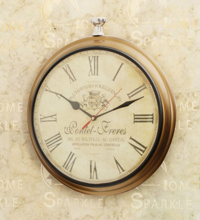 Golden Mild Steel 12 x 3 x 13 Inch Wall Clock by Home Sparkle