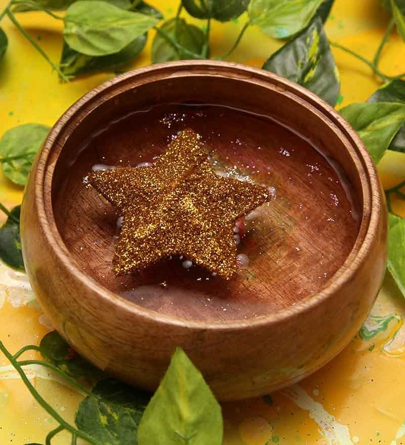 Golden Star Shaped Sparkle Floating Candle