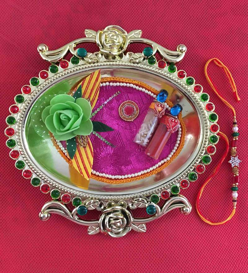 Golden Thali With Rakhi and Tilak By Aapno Rajasthan