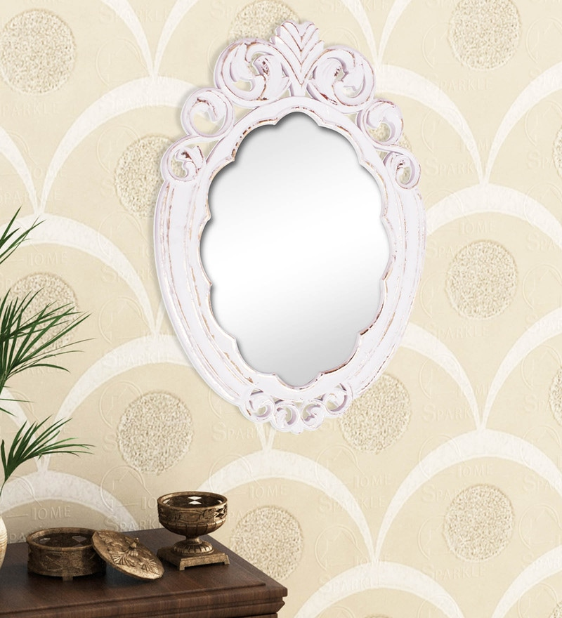 Golden White Engineered Wood Wall Mirror By Home Sparkle