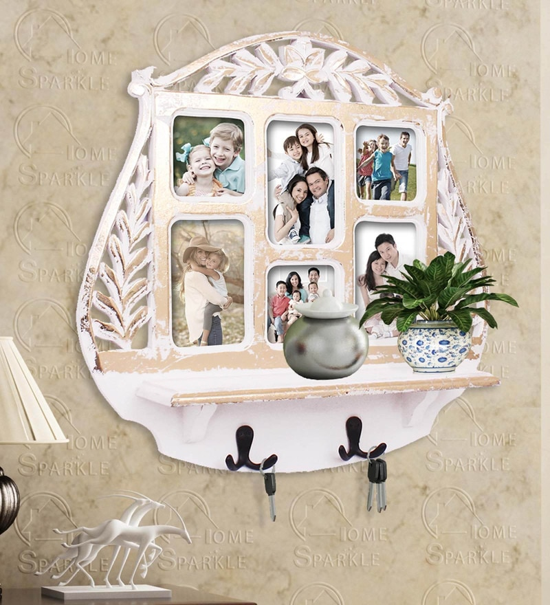 Golden White Engineered Wood Wall Shelf Photoframe & Hooks By Home Sparkle