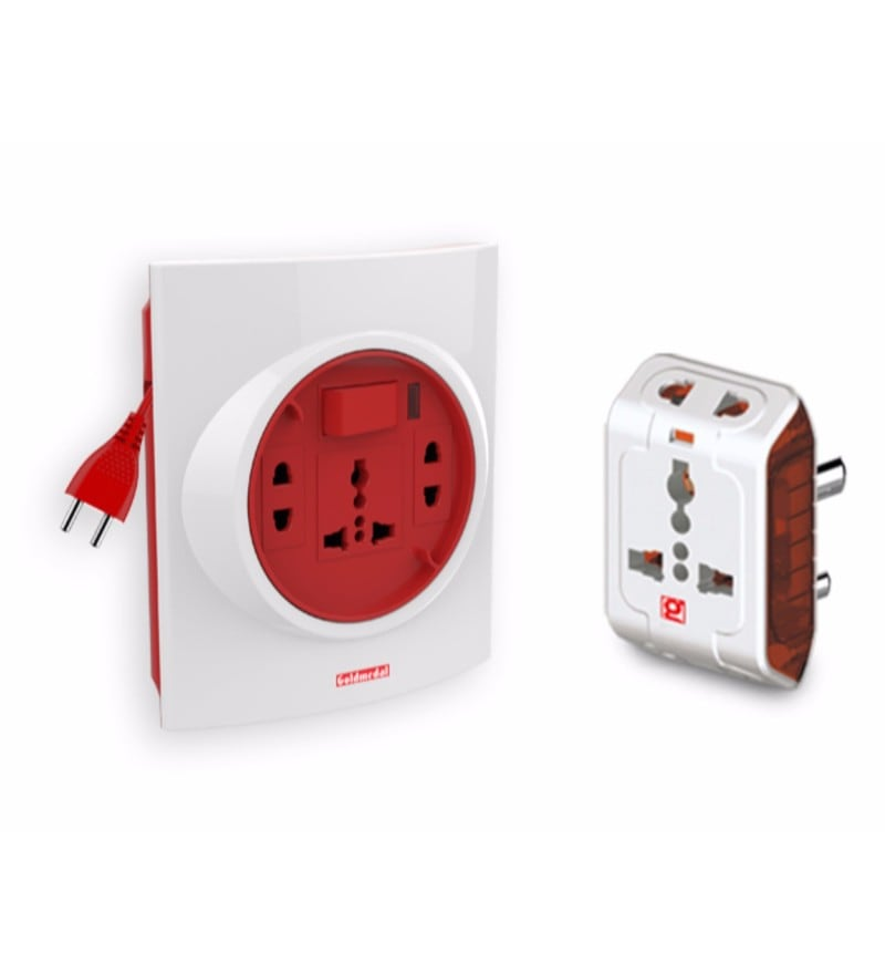 Goldmedal Spice 3 Pin Travel Adaptor and Goldmedal G-Smart 2 Pin 5m Extension Cord