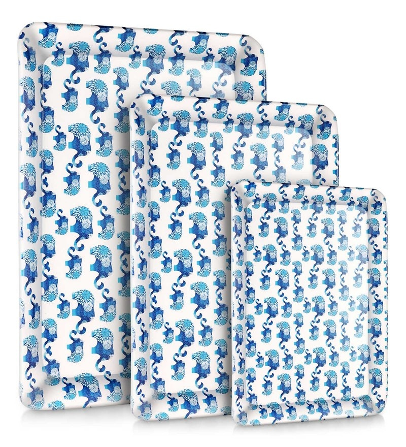 Good Homes Buono Casa Blue Elephant Melamine Trays - Set of 3