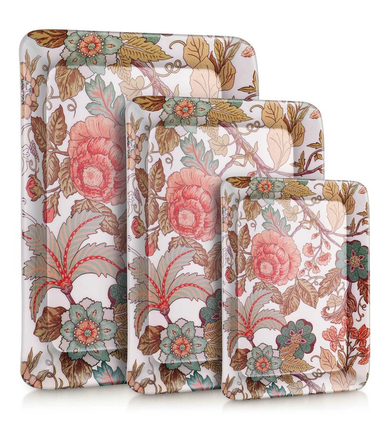 Good Homes Buono Casa Bouquet Melamine Trays - Set of 3