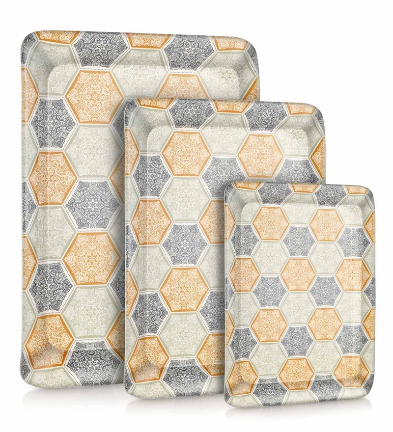 Good Homes Buono Casa Hexa Flower Melamine Trays - Set of 3