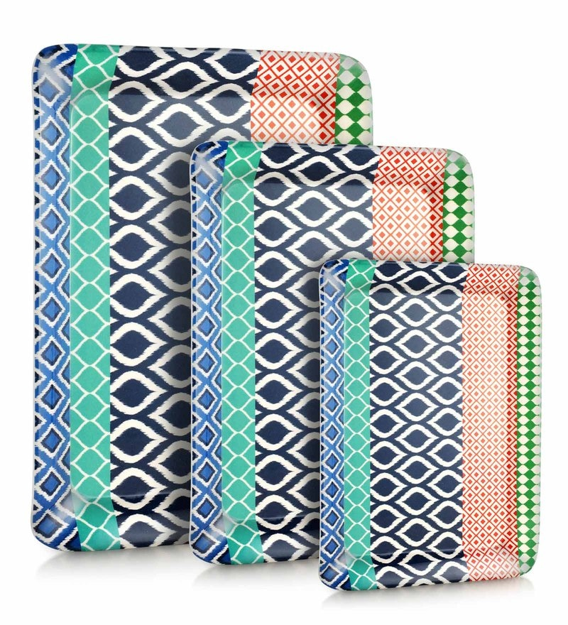 Good Homes Buono Casa Ikat Melamine Trays - Set of 3