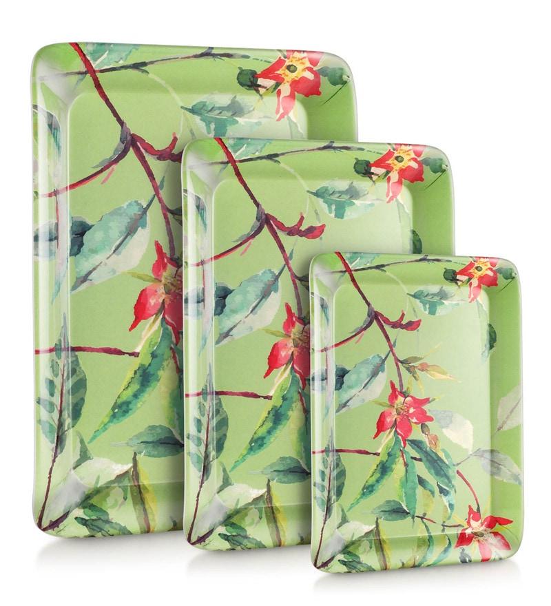 Good Homes Buono Casa Water Colour Flower Melamine Trays - Set of 3