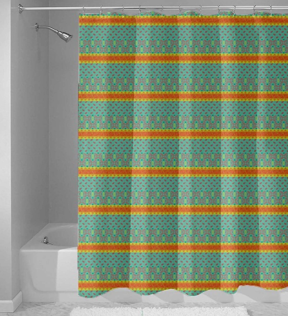 Buy Green Abstract Pattern Nylon Shower Curtain Length 84 Width 48 Inches By Haus And Sie Online Shower Curtains Shower Curtains Furnishings Pepperfry Product
