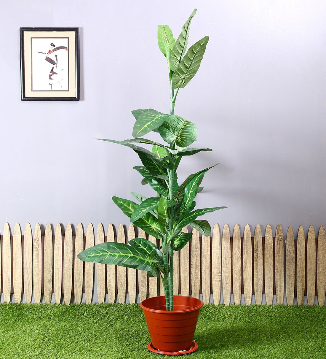 Buy Green Polyester Artificial Elephant Ear Plant Without Pot By Pollination Online Artificial Plants Artificial Plants Home Decor Pepperfry Product