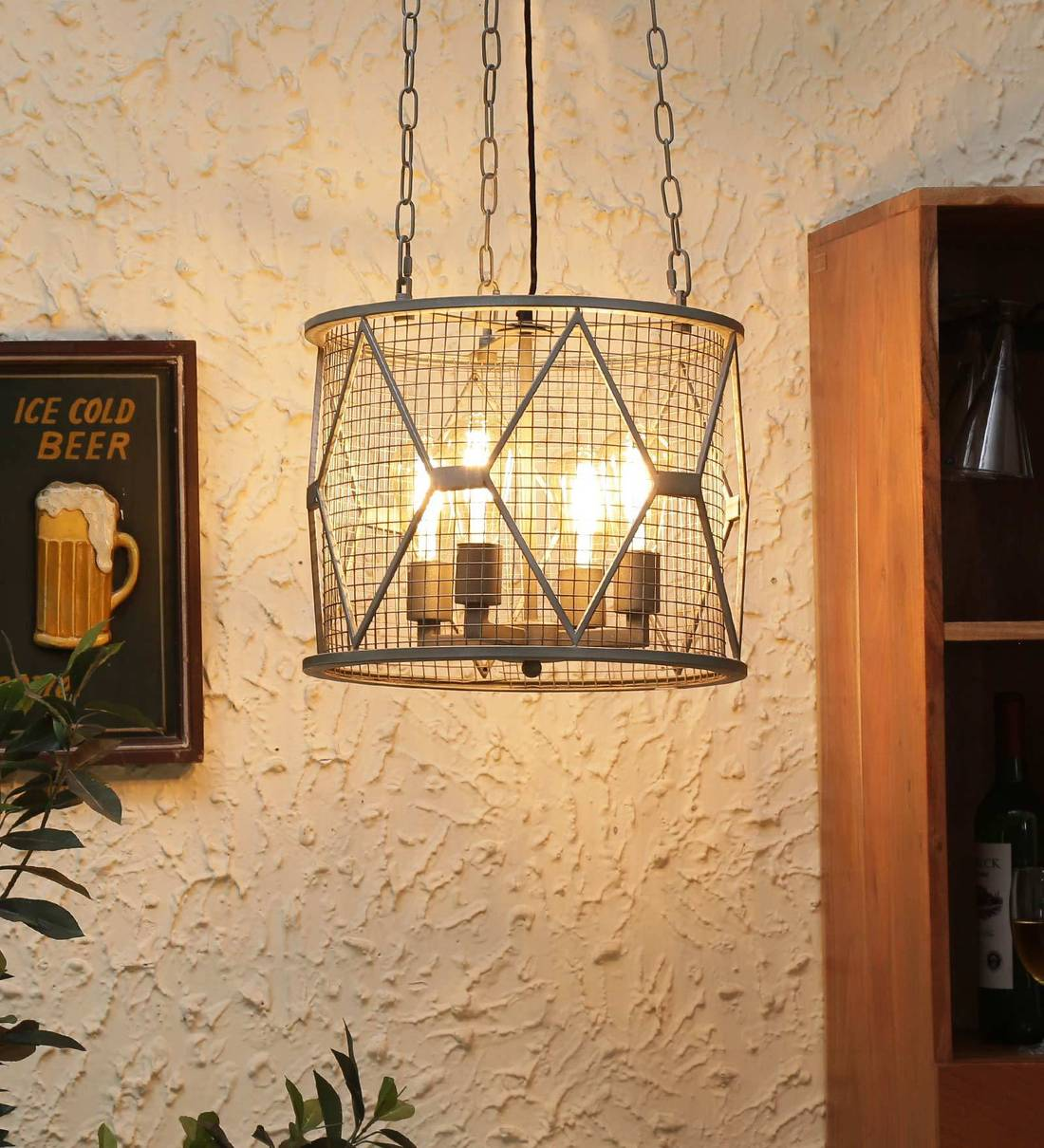 Buy Grey Metal 4 Light Cluster Hanging Lights By Rustic India Online Contemporary Cluster Hanging Lights Ceiling Lights Lamps Lighting Pepperfry Product