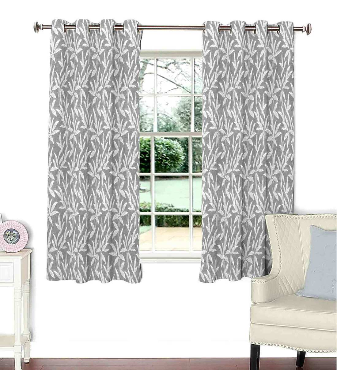 Buy Grey Polyester Floral Window Curtains 44 X 60 Inches By Skipper Online Floral Window Curtains Furnishings Home Decor Pepperfry Product
