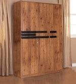 Grafton Three Door Wardrobe in Natural Pine & Black Finish