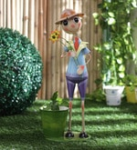 Tall Boy Holding Flowers Planter