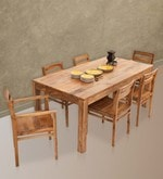 Gresham-Barcelona Six Seater Dining Set (with Armchairs) in Natural Finish