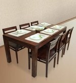 Gresham-Barcelona Six Seater Dining Table Set in Mahogany Finish