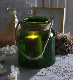 Green Glass Big Glass Jar With Rope Tea Light Holder