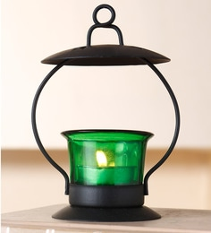 Green Glass Iron Votive  Tealight Candle Holder