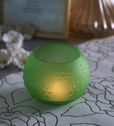 Green Glass Star Doom Tea Light Holders  - Set Of 2