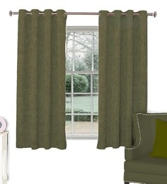 Green Polyester Window Curtain