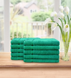 Green Signature 630 GSM Cotton Face Towel Set (Pack Of 10)by Swiss Republic