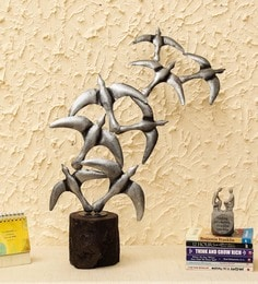 Grey Iron Bird Flying Bunch Table Decor Figurine