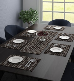 SICOHOME Leather Placemats,Set of 6,Black