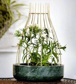 Buy Green Marble with Brass Antique Metal Reticulation Planter by POSH N  PLUSH Online - Big Planters - Pots & Planters - Home Decor - Pepperfry  Product