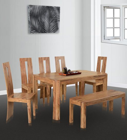 Granada Dining Set With (5 Chairs U0026 1 Bench) In Natural Walnut Finish By