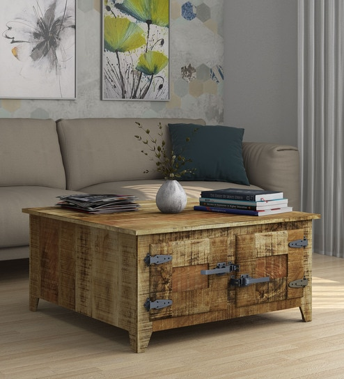 Buy Grayson Solid Wood Coffee Table With Storage By Bohemiana