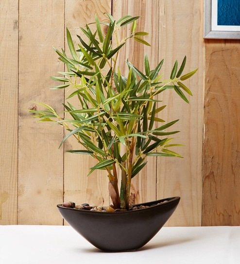 Green Brown Plastic Ceramic Artificial Small Bamboo Plant By Odd Croft