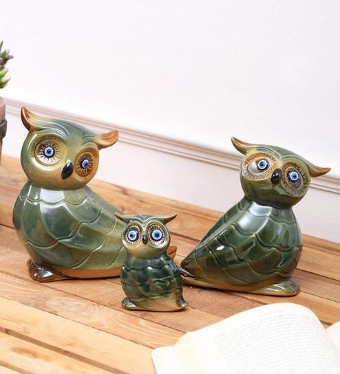 Phenomenal Green Ceramic Pristine Mahogany Owl Trio Set Showpiece By Aapno Rajasthan Andrewgaddart Wooden Chair Designs For Living Room Andrewgaddartcom