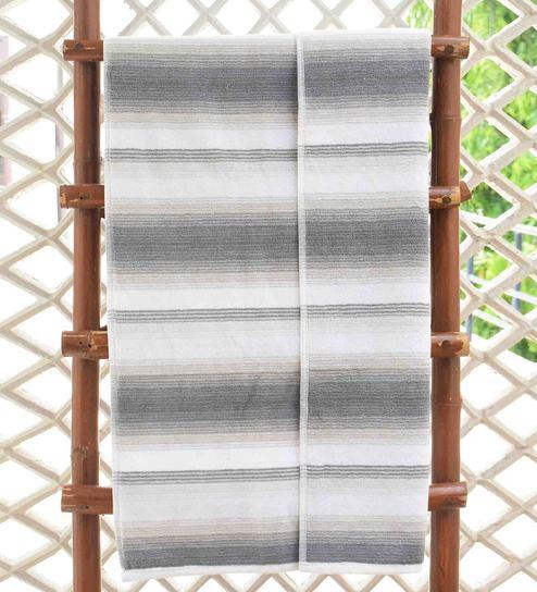 Green Classy Stripe Cotton Bath Towel by Avira Home
